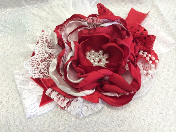 Baby Headband- baby girl Headband- Red Headband-Christmas Headband-  Flower Girl Headband- Avry Couture Creations- Couture Headband