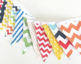 Carnival Fabric Banner, Primary Color Bunting Chevron Dots - Boys Girls Birthday Party Decor, Baby Nursery, Circus Playroom Decor