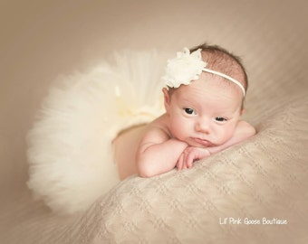 Ready to Ship, NEWBORN IVORY TUTU Set, Ivory Tutu Skirt, Newborn Tutu, Ivory Photo Prop, Photography Prop, Baby Tutu, Newborn Photo Prop