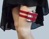 Adjustable Flask Garter - 4oz Flask -  Deep Red - fun valentine's day gift for her
