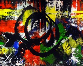 "Original Abstract Art Painting -""Tortoise World Tour"""
