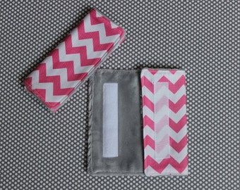 Car Seat Strap Covers: Pink Chevron with Grey