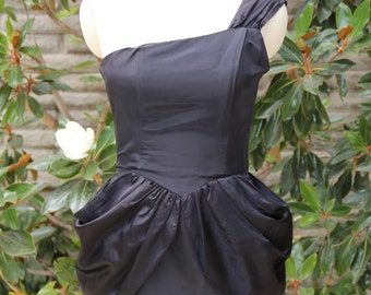 Black one shoulder 80s dress