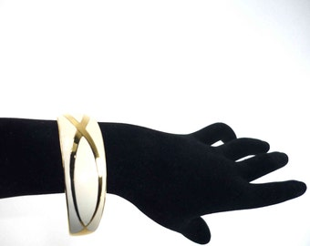Enameled Open Cuff Bracelet Cream
