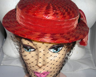 Vintage Candy Apple Red 1940's Pert Straw Sailor Hat Black Face Veil Sweet Toppers.....June Allyson  Hollywood Hat