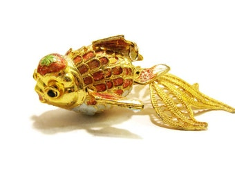 Vintage Chinese Articulated Cloisonne Goldfish Pendant