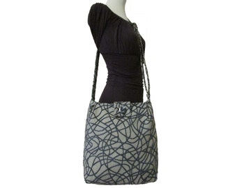 108- bag, purse, tote, blue and grey, large, handmade