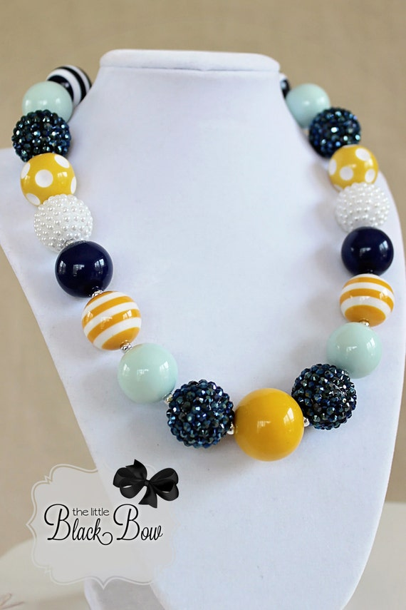 SAIL AWAY Chunky Necklace Navy Blue, Mustard Yellow & Mint Beads M2M Persnickety Child, Toddler or Baby Size Bubblegum Girls Beaded Necklace
