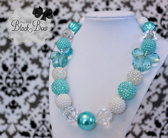 Elsa FROZEN Inspired Chunky Necklace Aqua Mint White Hidden Mickey Beads Child, Toddler or Baby Size Bubblegum Gumball Girls Beaded Necklace