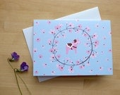 Cherry Blossom and Dala Horse Notecard in Pink and Blue (Blank)