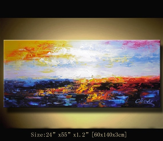 Original Abstract Painting, Modern Textured Painting, Palette Knife cityscape, Home Decor, Painting Oil on Canvas by Chen m057