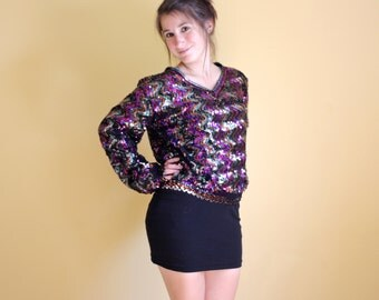 Rainbow Sequined Top // Bright Color Abstract Iridescent Sequin Sweater Blouse Small Medium 80s Baggy Shirt