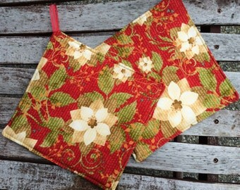 Two POT HOLDERS - Poinsettias on Red with Polka Dots, Personalization Available
