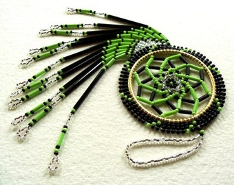 Authentic Native Made Beaded Dream Catcher- Lime Green Swirl and Black