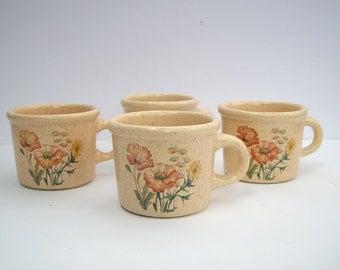 Vintage Tresurecraft Pottery Mugs Set of 4