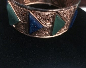 Did antique Czechoslovakian bangle bracelet blue-green art glass spring finds free shipping costume jewelry vintage