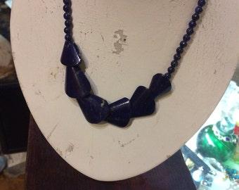 Vintage antique deep blue etnic  lapis lazuli stone handmade geometric necklace free shipping