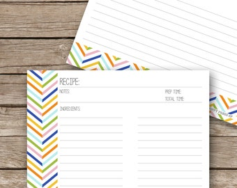 Printable Recipe Cards - 4x6 - Chevron Multi Stripe - Double Sided