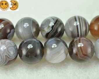 15 inch strand of natural Botswana Agate smooth round beads 2mm 3mm 4mm 6mm 8mm 10mm 12mm 14mm