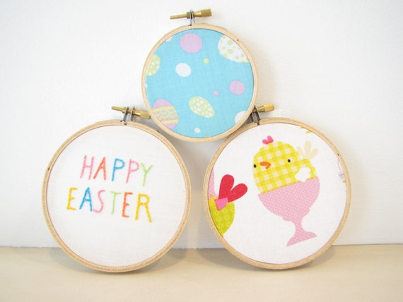"Embroidery Hoop Wall Art Home Decor Set - ""Happy Easter"" orange yellow pastel pink aqua turquoise chick bird spring egg Easter basket gift"