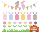 Buy 2 Get 2 Free----Easter Bunny and Tulip Spring Flowers----Personal and Small Commercial Use----BB 0493