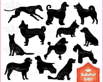 Buy 2 Get 2 Free ---- Set 1 Dogs Black Silhouette ---- Personal and Small Commercial Use ---- BB 0400