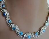 Vintage Aurora Borealis Necklace, Pierced earrings set