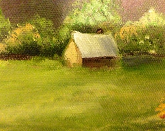 Original oil painting on canvas, landscape, cabin, stream