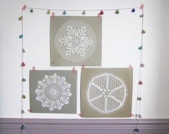 3 vintage french doilies - hand crocheted - coton - 1950