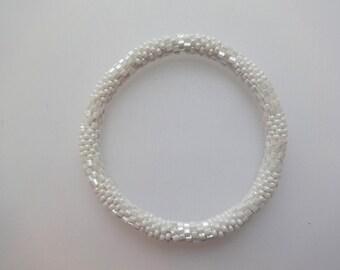 Textured Elegant White Crocheted Beaded Bracelet, Seed Beads,Nepal,TB14