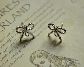 10pcs raw brass plating silver color bowknot   earring    pendant finding