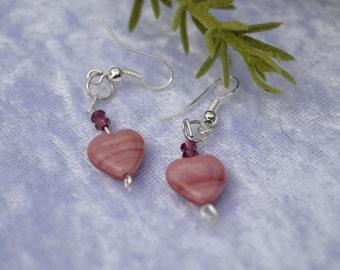 Pink heart bead earrings