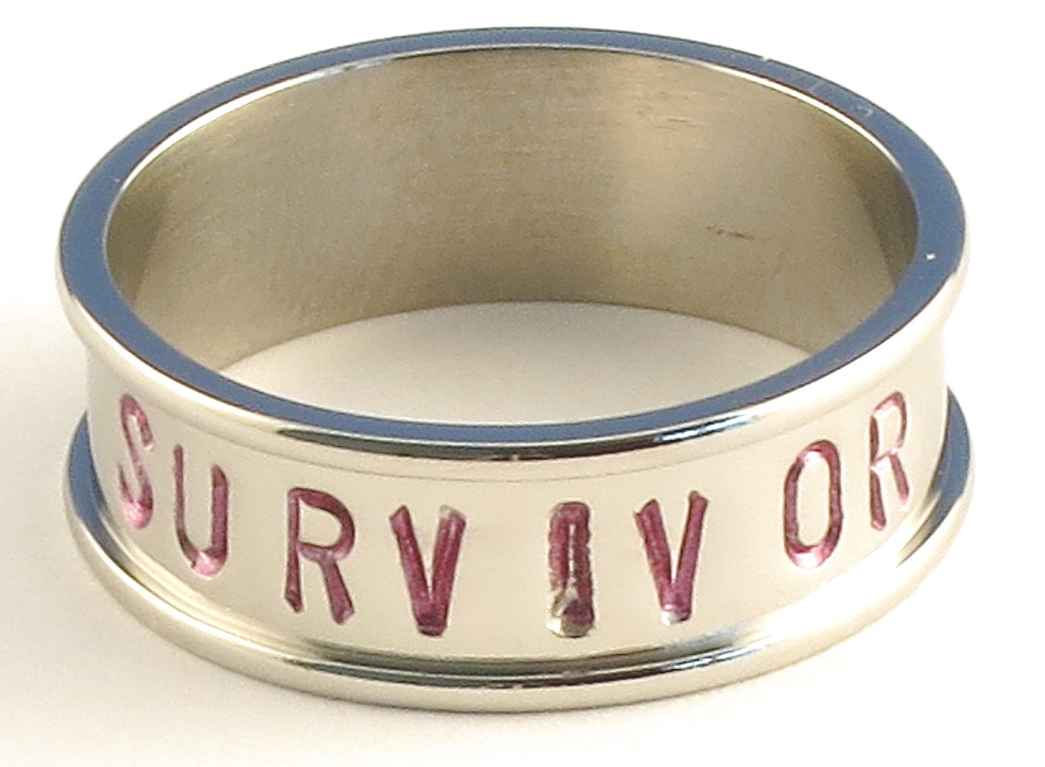 SURVIVOR in Pink Font - Stainless Steel Channel Band Name Ring 7mm - Available in Ring Sizes 3-14