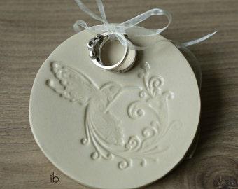 Wedding Ceramic Dish Bird Ivory Plate Jewelry Dish with Holes Hummingbird Ring Holder Pottery