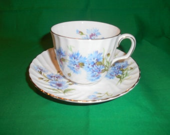 One (1), Bone China, Footed Tea Cup & Saucer, from Adderley China, in the Corn Flower H 487 Pattern.