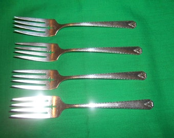 """Four (4), Silver Plated,  6 3/8"""" Salad Forks, from Prestige Plate / Oneida, in the Bordeaux 1945 Pattern."""