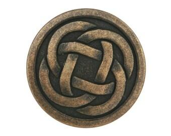 3 Celtic Knot 3/4 inch ( 19 mm ) Metal Buttons Antique Brass Color