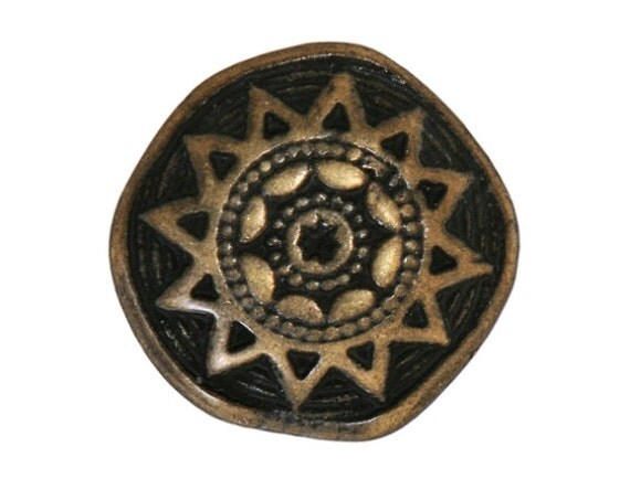 12 Sun Star 3/4 inch ( 20 mm ) Metal Buttons Antique Brass Color