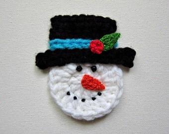 """1pc 3"""" Crochet SNOWMAN Face Applique"""
