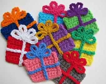 "1pc 3.5"" Crochet GIFT BOX Applique"