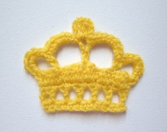"1pc 4"" Crochet KING CROWN Applique Bright Tones"
