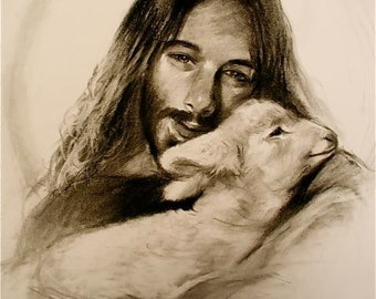 Jesus with Lamb and Halo