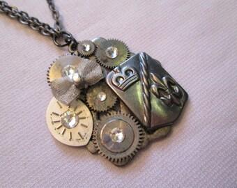 STEAMPUNK Necklace Vintage Watch Part SILVER Gray Gunmetal Fleur de Lis Crown Bow Face Dial Swarovski Crystal Handmade by DKsSteampunk