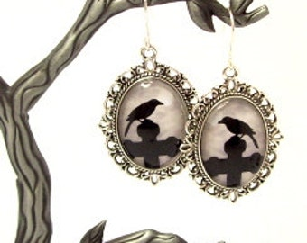 Raven and Cross Dangle Earrings, Nevermore Altered Art Earrings, Poe Raven Glass Drop Earrings, Literary Earrings