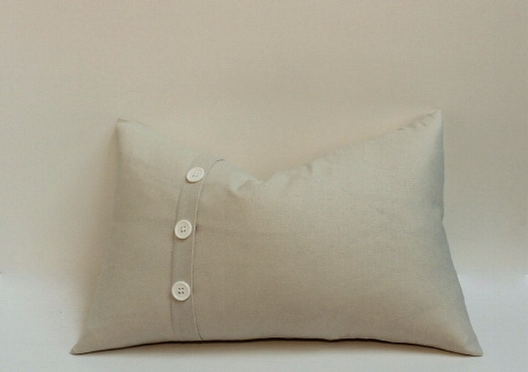 Decorative pillow cover with 3 button pleat accent linen