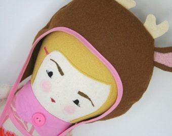 Cloth Doll, Handmade Doll, Vintage Doll, Retro Doll, Soft Doll, Blond Haired Doll, Deer Hat Doll, Girl Doll, Plush Doll, Fabric Doll
