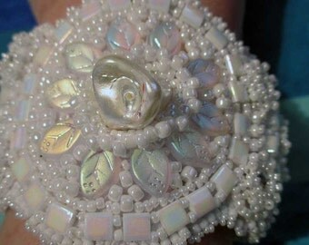 Touch of Elegance Bead Embroidery Cuff Bracelet
