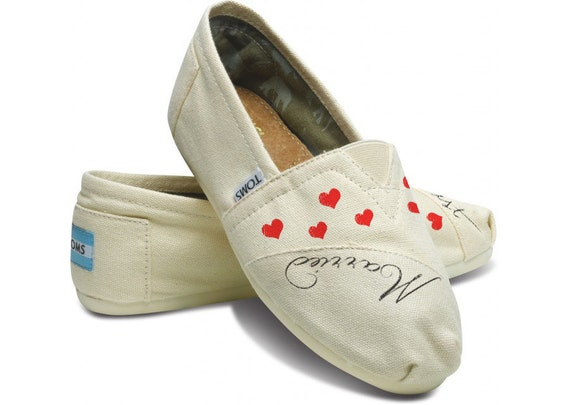 Wedding Just Married Bride Custom Hand Painted Personalized TOMS Classic Womens Canvas Sneakers by Arts and Soles