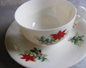 Christmas Poinsettia Cup and Saucer - Friend Cup and Saucer - Hand Painted