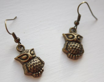 Owl earrings - bronze (POC04) - matching owl necklace available, owl jewelry
